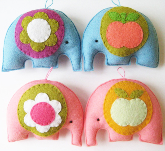 Alice Apple Retro Hanging Felt Toy Elephants on Etsy
