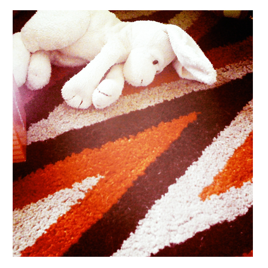 Bernice Bunny stuffed toy waiting on the floor