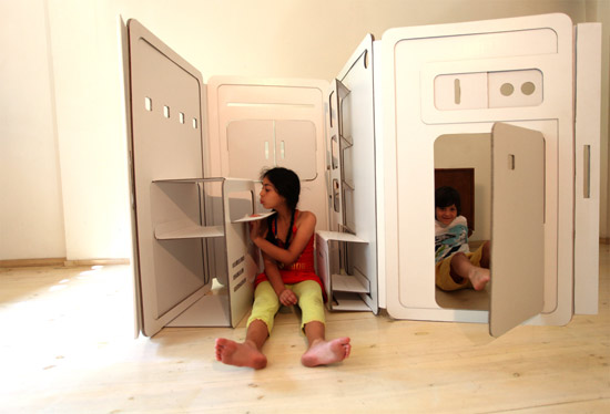 Delightful Design Boom Pop Up Cardboard Kids Play Kitchen