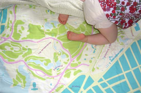 Haptic Labs Baby quilts - custom city maps on a blanket