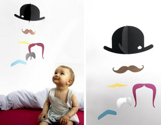 Mr. Moustache Mobile for your Funky Modern Nursery Decor