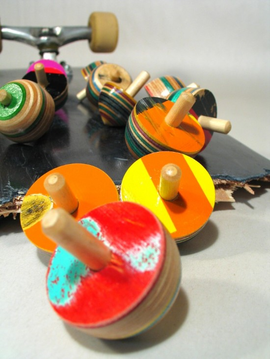 Handmade Wooden Tops Spinning Tiny Tops Recycled Skateboard