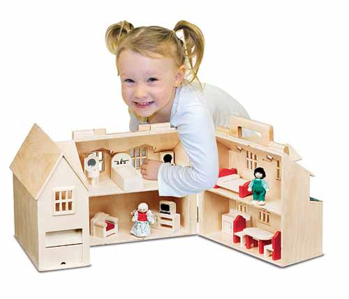 Melissa and Doug Natural Wood Fold and Go First Dollhouse and Furniture
