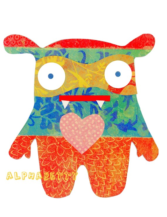 Alphabetty Personalize with a monogram Customizable Wall Art Monsters for Kids