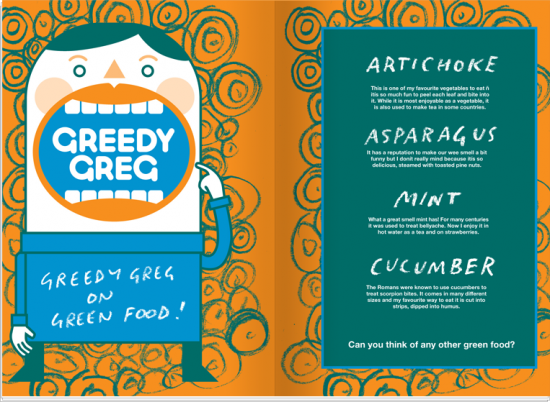 Greedy Greg on Green Vegetables from Anorak Magazine's Food is Fun Kids Cookbook