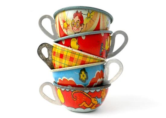 Toy Tea Sets For Boys : Vintage tea cups children s metal toys antique boys