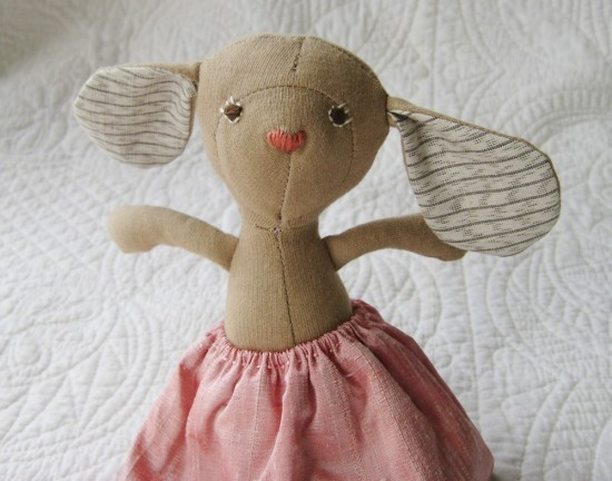 Handmade Organic Stuffed Plush Annicke Mouse from Hazel Village on etsy