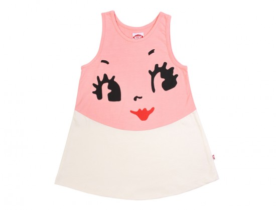 Madre Perla Mini Dress Pink with Doll's face Mod Girls Fashion