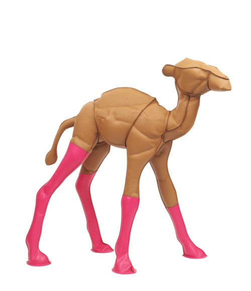 Stuffed Neon Leather Hermes Camel Toy Sculpture