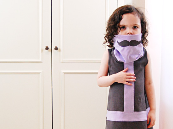 Teeny Bunny Soft Modern Celebritot Incognito Mustache Dress with Cowl Neck Collar for girls