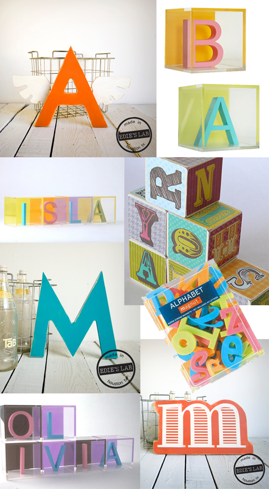 modern alphabet decor for nurseries and children's rooms