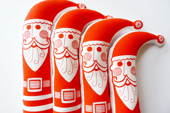 Retro Stuffed Screenprinted Handmade Santa Doll for kids on Etsy