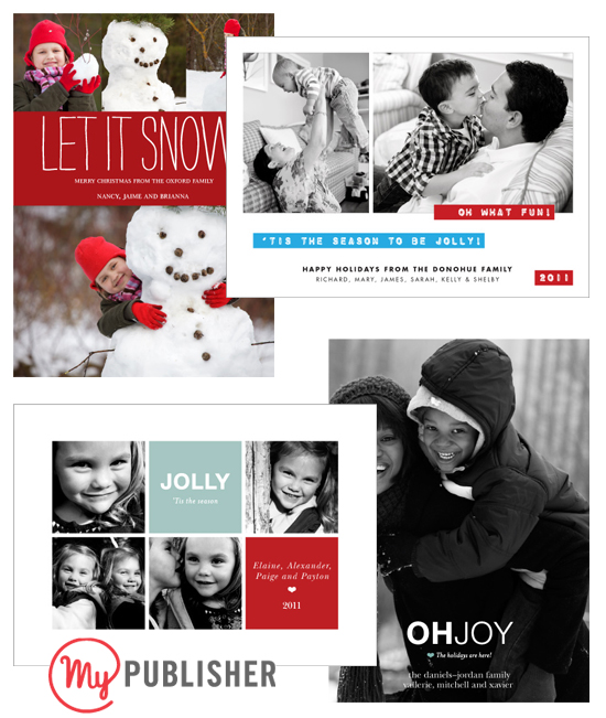 Affordable Modern Custom Photo Cards from MyPublisher.com for your Holiday Christmas Season