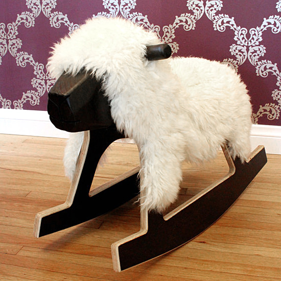 Bright Start Designs Handmade Baltic Birch and Sheepskin Wooden Rocking Sheep Horse on etsy