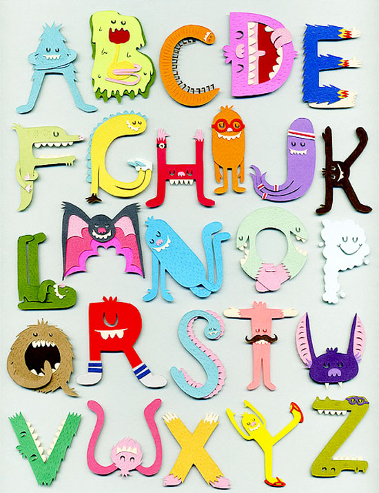 Paper Cut Monster Alphabet Illustration and Decor by illustrator Jared Andrew Schorr