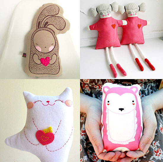 handmade plush valentine's animals and doll toys on etsy