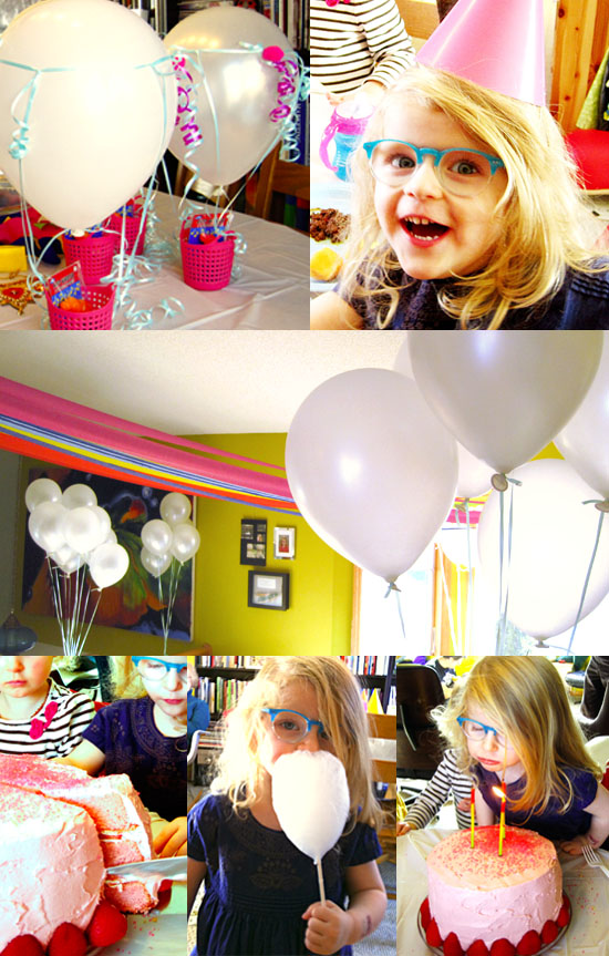 3 year old rainbow and clouds birthday party theme with creative balloons