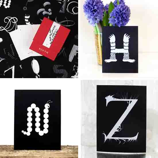 Binth modern stationery art prints Love Letters alphabet series