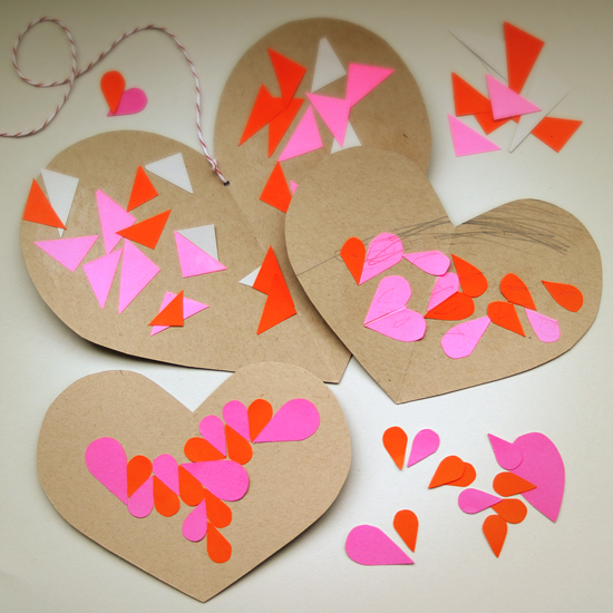 handmade DIY Craft for kids - geometric geo modern DIY hearts mosaic patterns