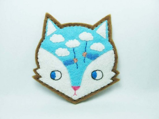 Hanako handmade felt fox and hedgehog animal brooches on etsy