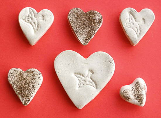 DIY Handmade Valentines for Preschoolers - Clay Heart Stamped Love Tokens