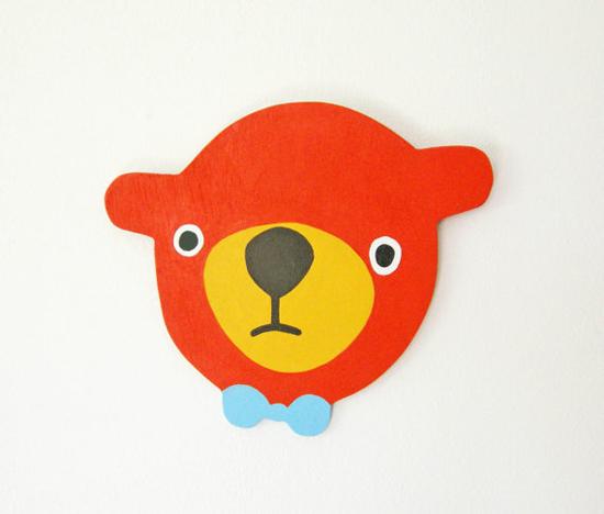 herman marie handmade handpainted wood art plaques - bears, kids, apples