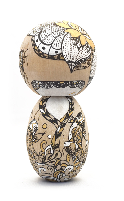 one of a kind wood artist kokeshi dolls