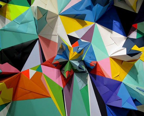 Nuria Mora Geometric Tesselated Triangle Paper Art installation