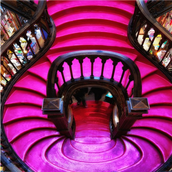 Colorful staircase in a Portugese Bookstore