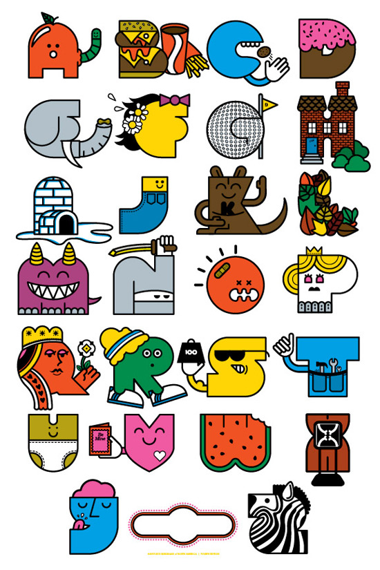 Designer Mike Davis Alphabet Art Print and T-shirt designs