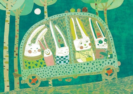 rabbits in a car illustration - just in time for Easter!