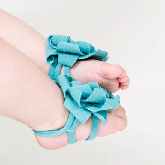 Zuzii handmade baby barefoot sandals, flower barettes, and shoes on etsy