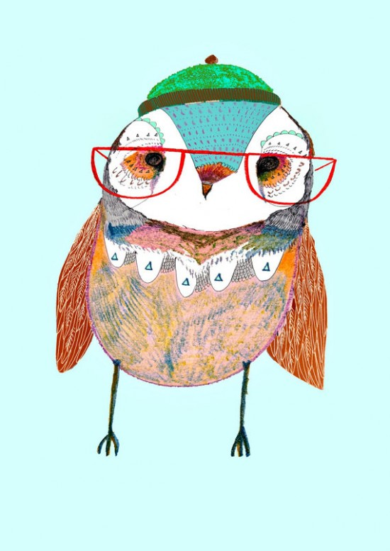 Owl with Glasses Nursery Decor Wall Art Print from Ashley Percival on Etsy