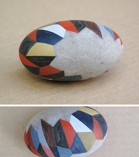 modern triangle painted rocks and handmade dolls on etsy