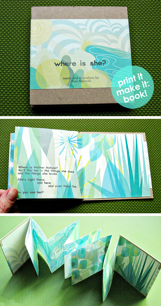 DIY Printable Download Children's Book for Mother's Day, about Mother Nature, with how-to tutorial video