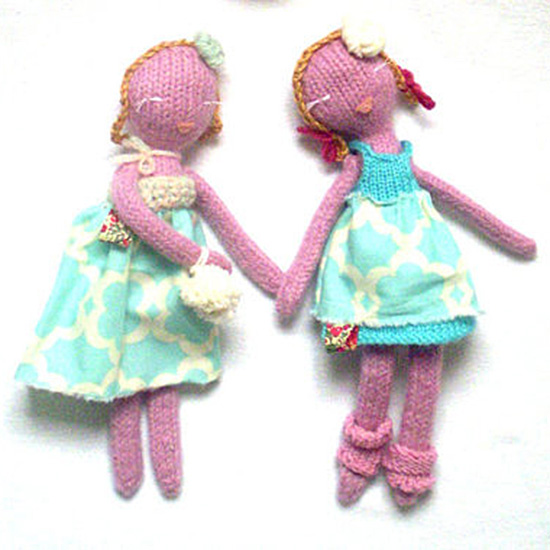 handmade quirky modern chic knitted dolls and doll pattern kits by Knitted Babe on Etsy