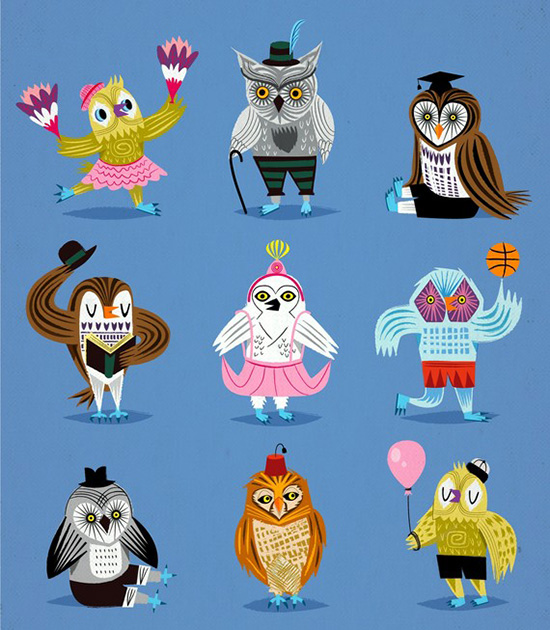 Iota Design - Owls Wearing OUtfits modern art print for kids nursery decor