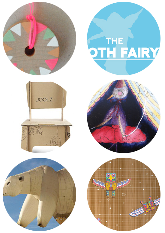 polar bear balloons, magnetic wallpaper, wooden puzzles, tooth fairy cards, DIY necklaces, cardboard furniture