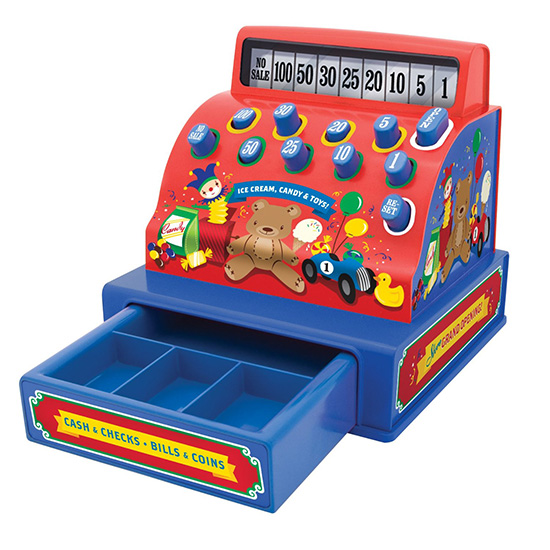 Schylling old-fashioned tin cash register toy for kids
