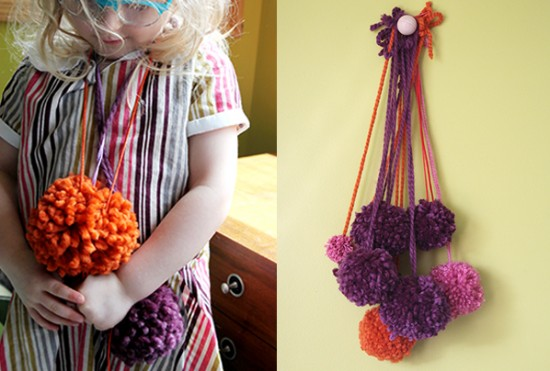 DIY Pom Pom Necklace for kids to make