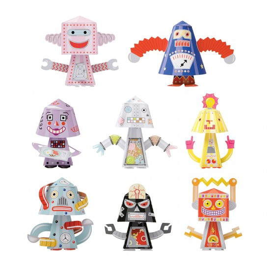 Paper Craft Toy Bobble Head Robot Kit from Uncommon Goods