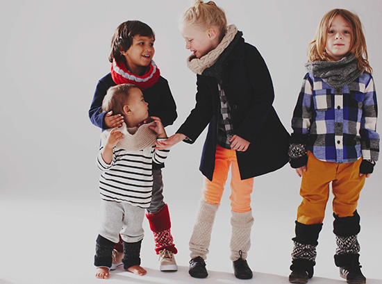 Cabbages & Kings fall winter accessories, scarves, legwarmers handmade for kids in peru