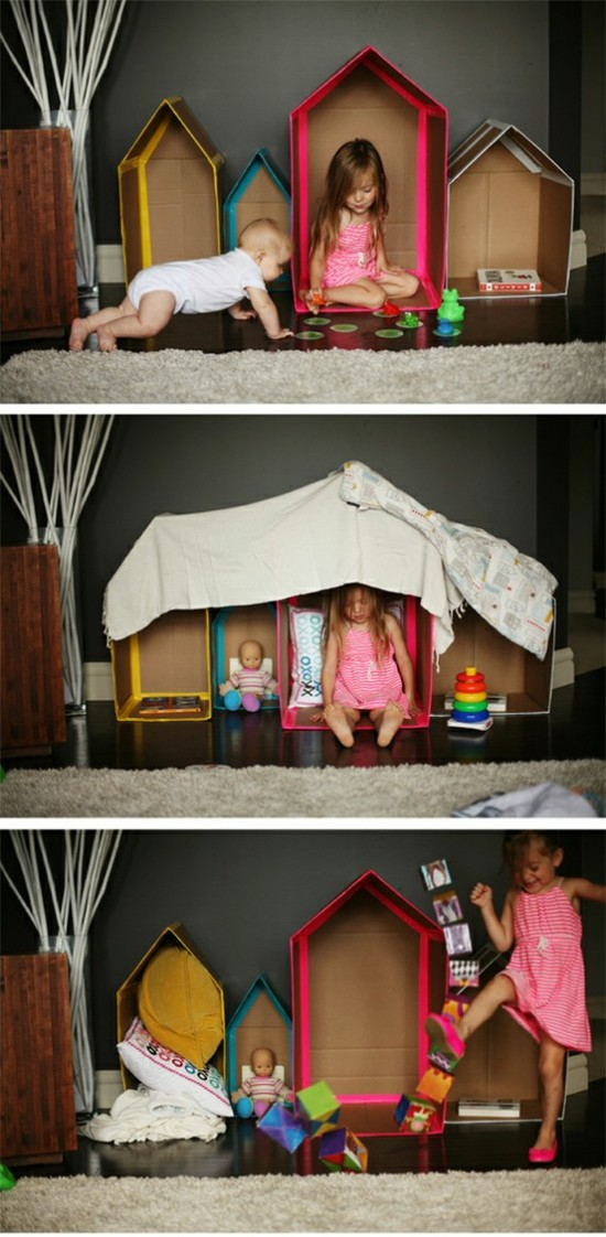 Pinterest DIY Cardboard HOuses with boxes and colored tape