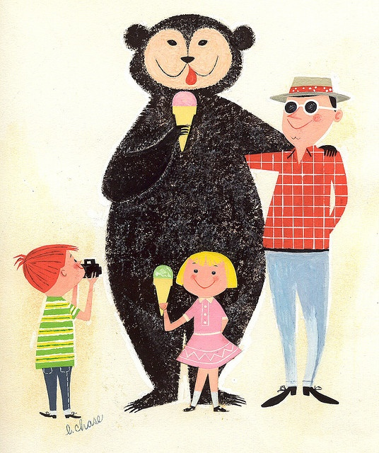 Vintage Retro illustration bear and family vacation picnic via PInterest