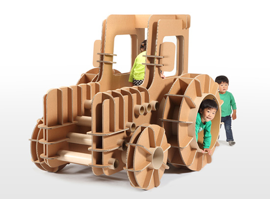 Tsuchinoco Recycled Corrugated reinforced cardboard playsets and sculptures for kids