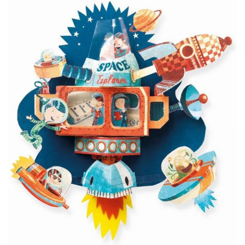 Djeco Spaceship Pop Up Wall Art for Kids Nursery Decor