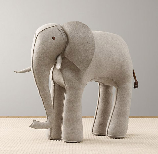 Wool Felt Elephant Oversized Large Stuffed Animal Nursery Room Decor from Restoration Hardware