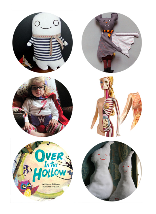 Halloween Handmade Stuffed Ghost and Bat Toys, Barbie's organs and skeleton, Toddler SuperHero Girl Costume, Over in the Hollow Halloween Book