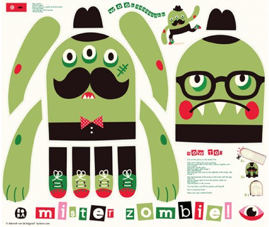 Spoonflower Mister Zombie Plush Monster Toy - make one for Halloween!