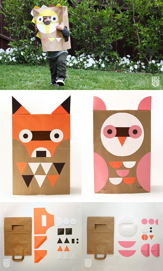 Wee Alphas iphone ipad apps and free diy downloadable tutorial for paper bag masks and costumes for preschoolers